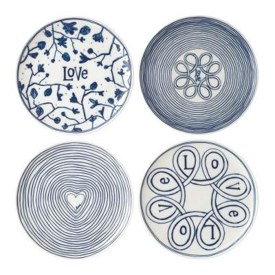 Royal Doulton ED Ellen DeGeneres Porcelain Plate 21cm Blue Love Set of 4