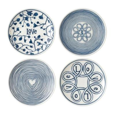 Royal Doulton ED Ellen DeGeneres Porcelain Plate 16cm Blue Love Set of 4