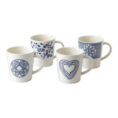 Royal Doulton ED Ellen DeGeneres Porcelain Mug 450ml Blue Love Set of 4