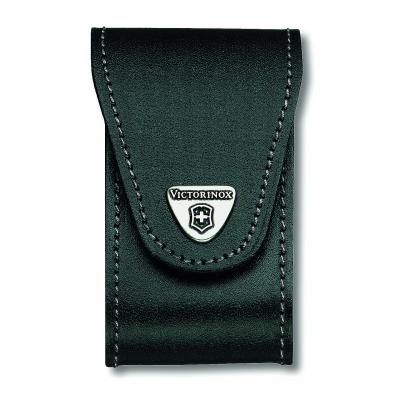 Victorinox SAK Black Leather Pouch with Rotating Metal Belt Clip 5-8 Layers