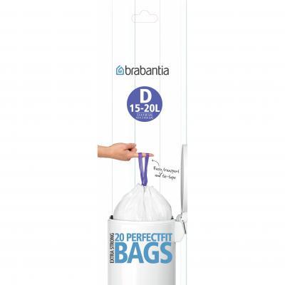 BRABANTIA PerfectFit Bags D 15/20L Roll | White