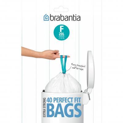 BRABANTIA PerfectFit Bags F 20L Slimline Dispenser | White