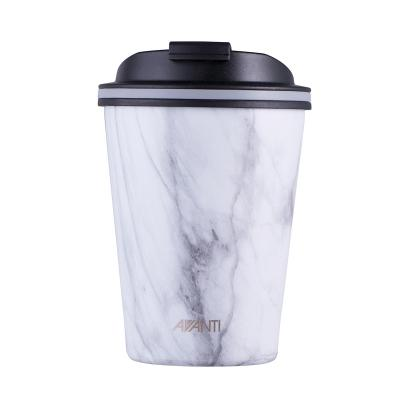 Avanti Go Cup Double Wall Stainless Steel Travel Cup 280ml - White Marble