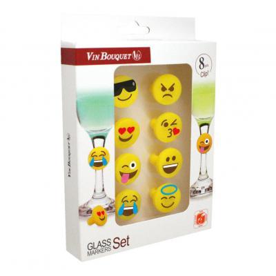Vin Bouquet Smiley Silicon Glass Marker Set/8