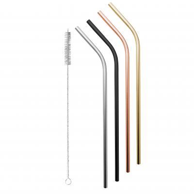 Avanti Stainless Steel Straws Precious Metals S/4