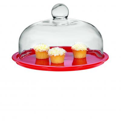 Chasseur La Cuisson Cake Platter 29.5cm with Lid | Red