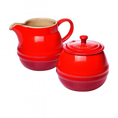 Chasseur La Cuisson Sugar Bowl and Creamer Set | Red