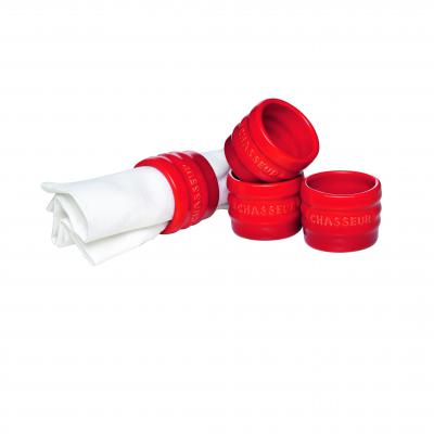 Chasseur La Cuisson Napkin Rings Set of 4 | Red