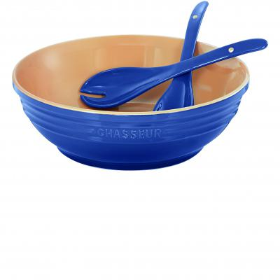 Chasseur La Cuisson Round Bowl with Salad Server Set | Sky Blue