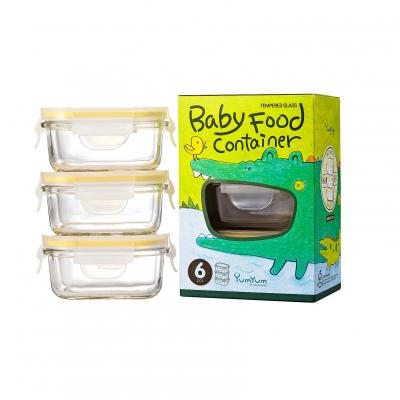 GLASSLOCK 3 Piece Rectangle Baby Food Container Set | 150ml
