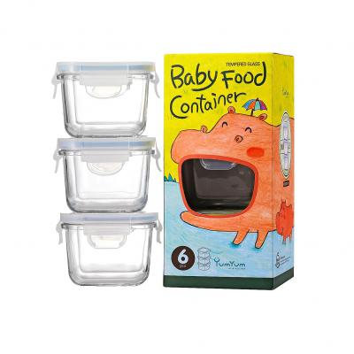 GLASSLOCK 3 Piece Square Baby Food Container Set | 210ml