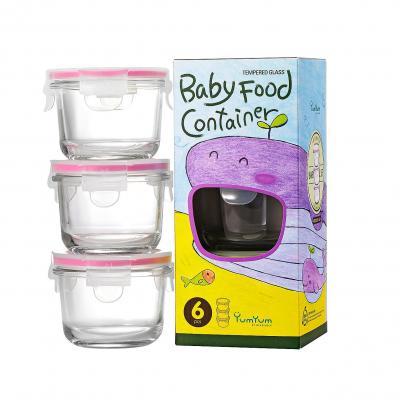 GLASSLOCK 3 Piece Round Baby Food Container Set |165ml