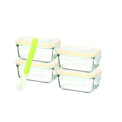 GLASSLOCK 5 Piece Rectangle Baby Set with Silicone Spoon
