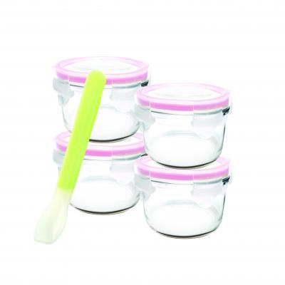 GLASSLOCK 5 Piece Round Baby Set with Silicone Spoon