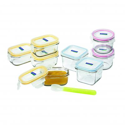 GLASSLOCK 9 Piece Rectangle/Square/Round Baby Set & Spoon