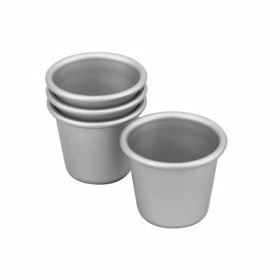Bakemaster Silver Anodised Set of 4 Dariole 6x5.5cm
