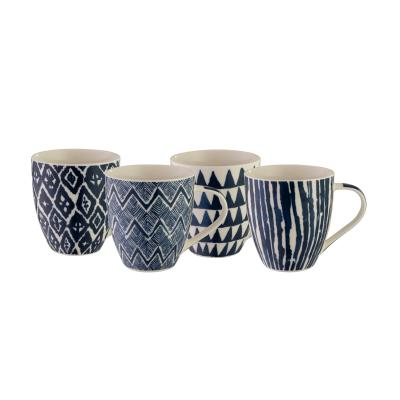 Bundanoon Mega Mug | Ikat Blue Set Of 4