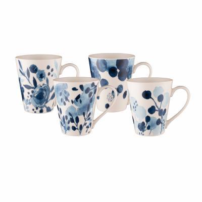 Bundanoon Conical Mug 414ml Sapphire Blooms Set of 4