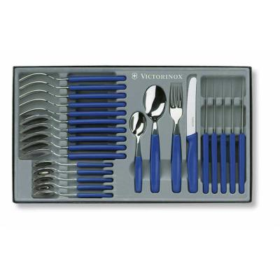 Victorinox 24 Piece Blue Cutlery Set Rounded Tip Knives Forks Spoons