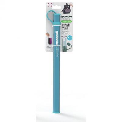 FusionBrands Silicone Straws Set of 2 Aqua