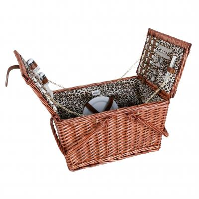 4 Person Handle Picnic Basket  Light Brown Willow With Leopard