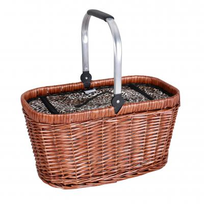 Avanti 4 Person Half-Willow Handled Picnic Basket Leopard Patterned