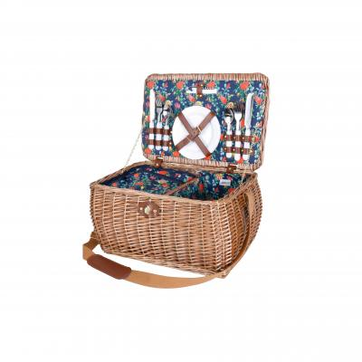 Avanti 4 Person Contemporary Picnic Basket - Light Brown Half Willow with Australian Natives Pattern