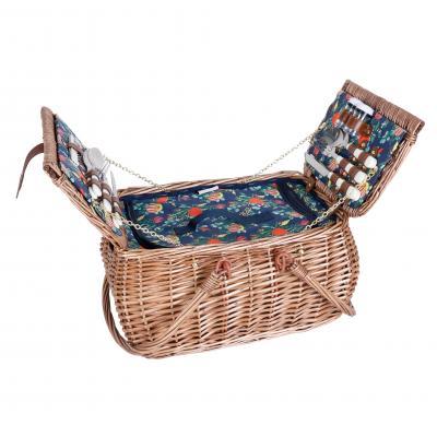 Avanti 4 Person Picnic Basket - Light Brown Half Willow with Australian Natives Pattern