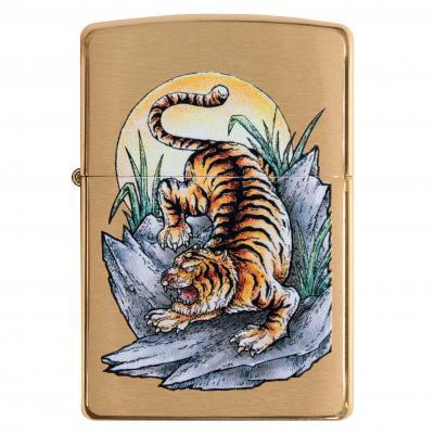 Zippo Brushed Brass Tiger Lighter