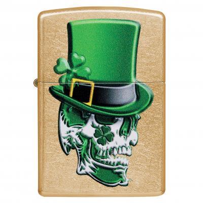 Zippo Gold Dust Irish Skull Lighter