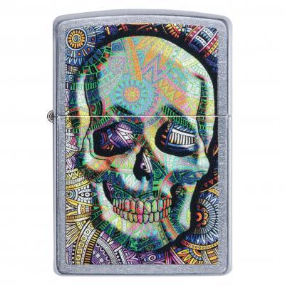 Zippo Street Chrome Coloured Skull Lighter