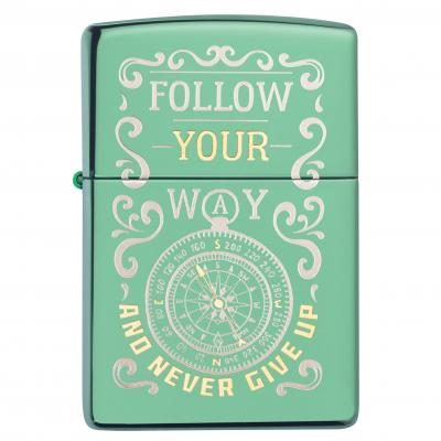 Zippo High Polish Green Follow Your Way Lighter