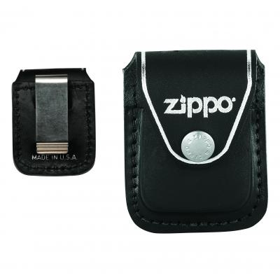 ZIPPO Black Leather Pouch with Clip