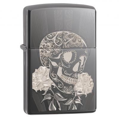 Zippo Black Ice Fancy Skull Lighter