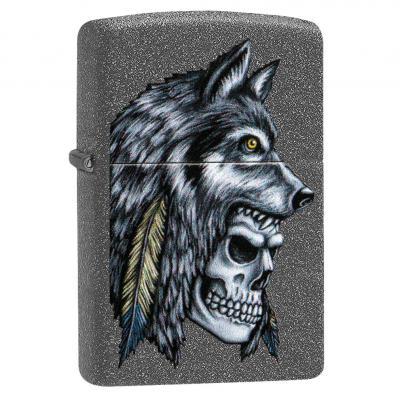 Zippo Iron Stone Wolf Skull Lighter