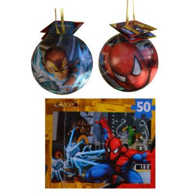 Spiderman Jigsaw Puzzle in a Tin Christmas Tree Ornament 24 Piece New Licensed