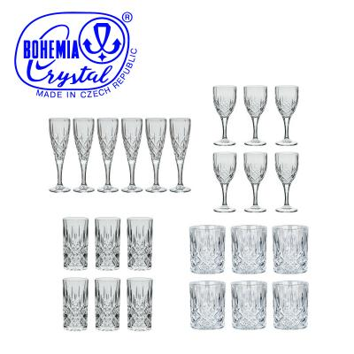 Bohemia Crystal Sheffield 24pcs Suite - Wine, Champagne, Whisky and Hi-Ball Glasses
