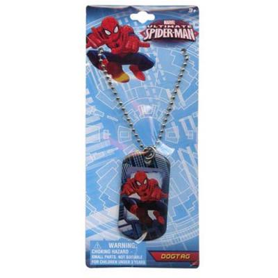 Spiderman Boys Dog Tag Necklace Spider-Man Metal Tag Necklace Blue New Licensed