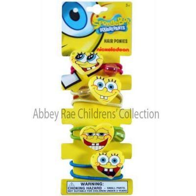 SpongeBob Squarepants Hair Ties Girls Hair Ponies with Beads 4 pack New Licensed