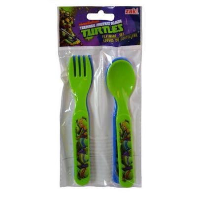 Teenage Mutant Ninja Turtles Kids Cutlery Set 4 Piece Fork Spoon Reusable New Licensed
