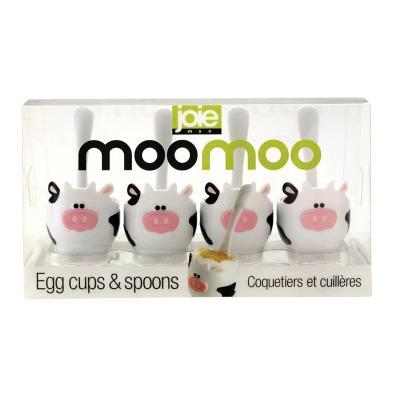 Joie MSC Moo Moo Egg Cup and Spoon 4pcs Set | Matching Mini Plastic Spoons