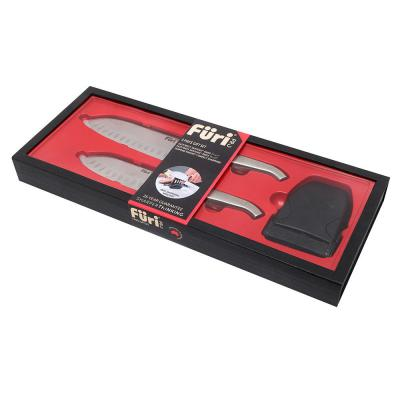 Furi Pro East/West Santoku Knife and Diamond Fingers Sharpener Set 3 Piece