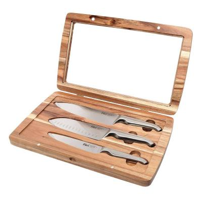 Furi Pro Acacia Knife Set 3 pcs   Cook 20cm, Santoku 17cm, Utility 15cm