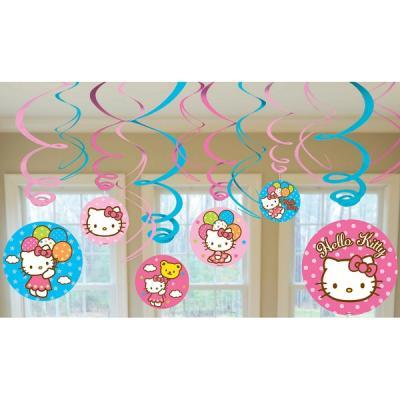 Hello Kitty Hanging Swirl Decorations Birthday Party Suplies