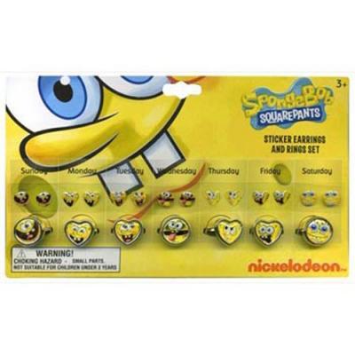 Spongebob Squarepants Rings Sticker Earrings Set Girls Accessories New Licensed