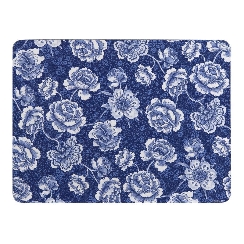 Ashdene Indigo Blue Roses Placemats And Coasters Set Of