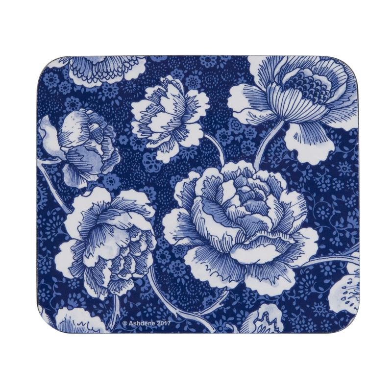 Ashdene Indigo Blue Roses Coasters Set of 4