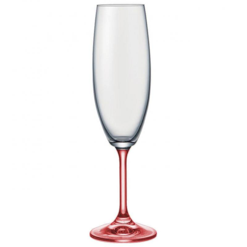 Bohemia Crystal Rainbow multi-coloured Champagne Glasses 190ml / 6pcs