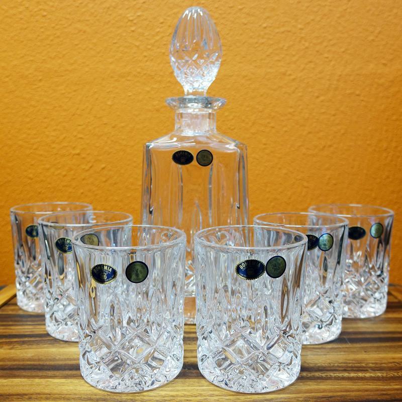 Bohemia Crystal Sheffield 7pcs Whiskey Decanter Set