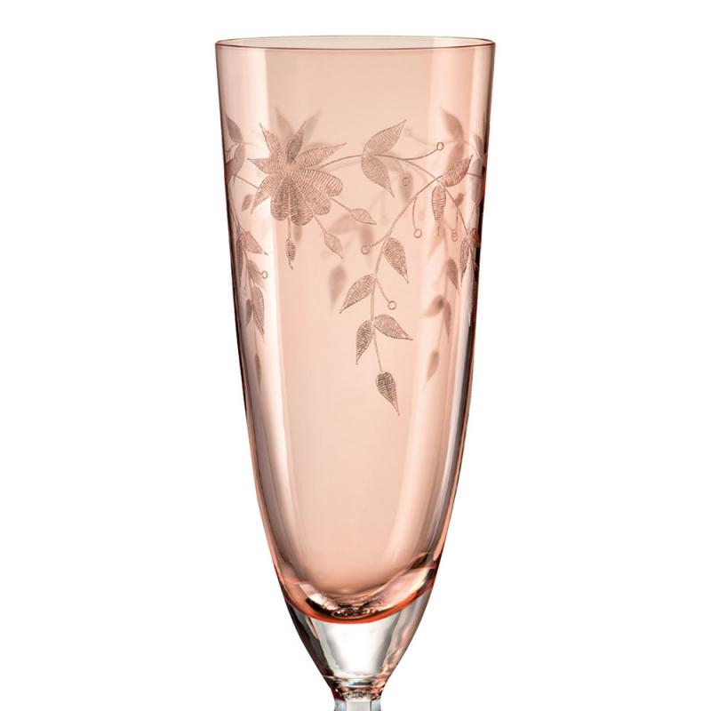 Bohemia Crystal Floral Champagne Flute 200ml/6pc